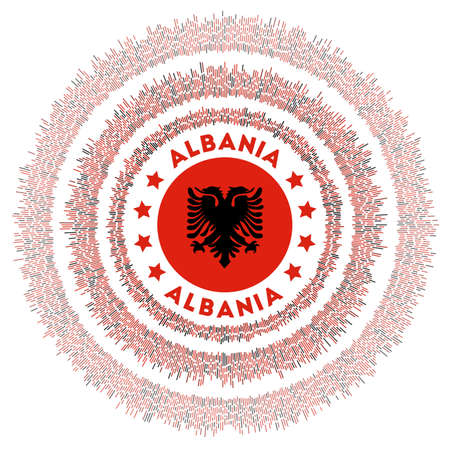 Albania symbol. Radiant country flag with colorful rays. Shiny sunburst with Albania flag. Authentic vector illustration.