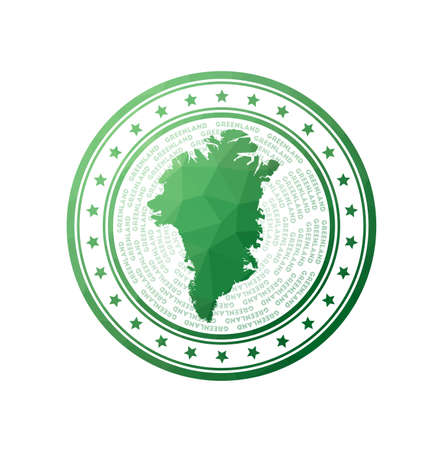 Flat low poly stamp of Greenland. Polygonal Greenland badge.