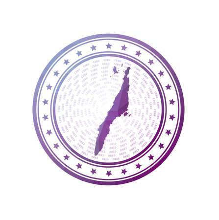 Flat low poly stamp of Cebu. Polygonal Cebu badge.