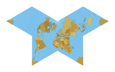 World Map. Gnomonic butterfly projection. Map of the world with meridians on blue background. Vector illustration. Illustration