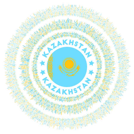 Kazakhstan symbol. Radiant country flag with colorful rays. Shiny sunburst with Kazakhstan flag. Amazing vector illustration.