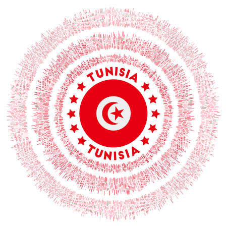 Tunisia symbol. Radiant country flag with colorful rays. Shiny sunburst with Tunisia flag. Modern vector illustration.