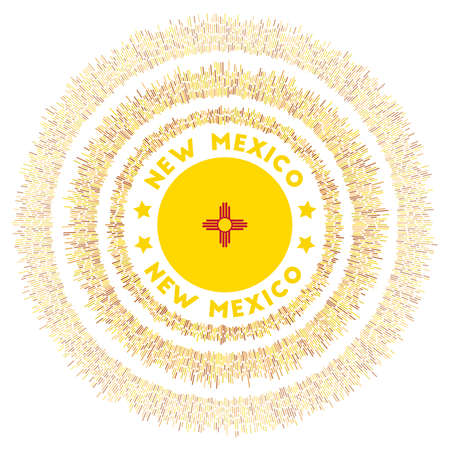 New Mexico symbol. Radiant us state flag with colorful rays. Shiny sunburst with New Mexico flag. Vibrant vector illustration.