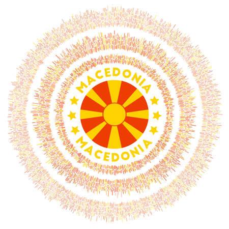 Macedonia symbol. Radiant country flag with colorful rays. Shiny sunburst with Macedonia flag. Awesome vector illustration. Illusztráció