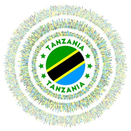 Tanzania symbol. Radiant country flag with colorful rays. Shiny sunburst with Tanzania flag. Stylish vector illustration. Illusztráció