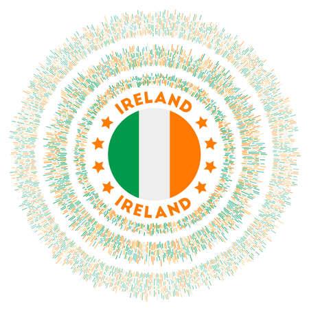 Ireland symbol. Radiant country flag with colorful rays. Shiny sunburst with Ireland flag. Creative vector illustration.