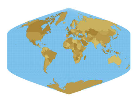 World Map. Baker Dinomic projection. Map of the world with meridians on blue background. Vector illustration. Stock Illustratie