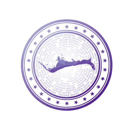 Flat low poly stamp of Grand Bahama. Polygonal Grand Bahama badge. Trendy vector   of the island.