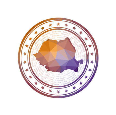 Flat low poly stamp of Romania. Polygonal Romania badge.