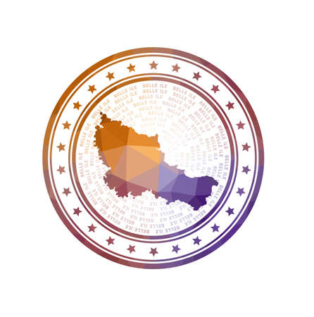 Flat low poly stamp of Belle Ile. Polygonal Belle Ile badge.