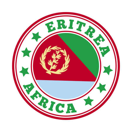 Eritrea sign. Round country with flag of Eritrea. Vector illustration.