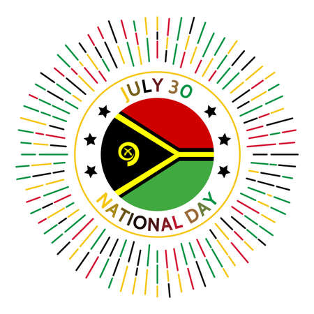 Vanuatu national day badge. Independence from the United Kingdom and France in 1980. Celebrated on July 30. Vectores