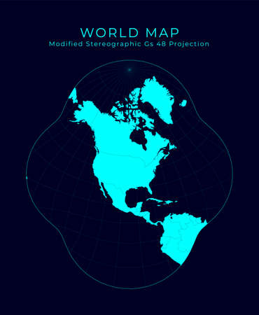 Map of The World. Modified stereographic projection for the conterminous United States. Futuristic Infographic world illustration. Bright cyan colors on dark background. Appealing vector illustration.