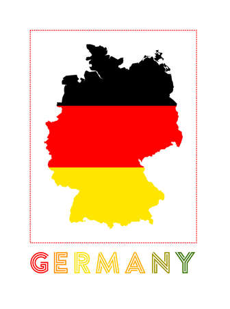 Germany Logo. Map of Germany with country name and flag. Stylish vector illustration.