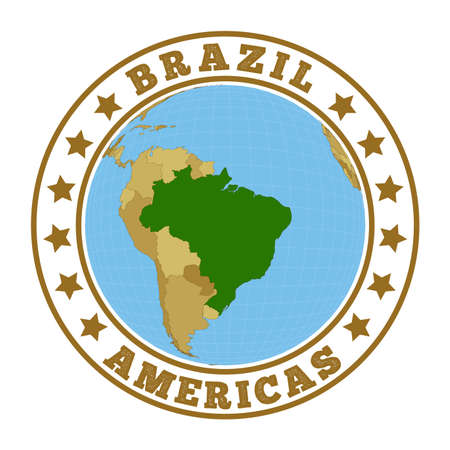 Round badge of country with map of Brazil in world context. Country sticker stamp with globe map and round text. Vector illustration.