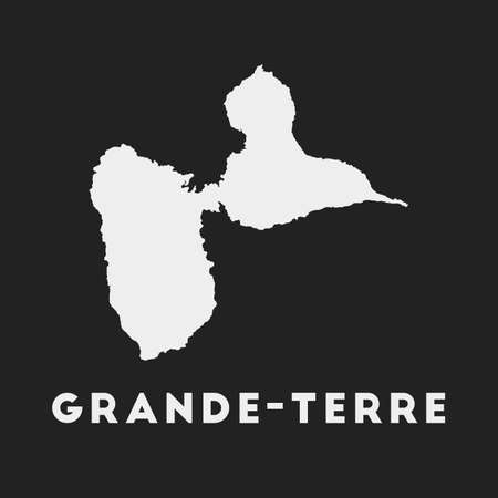 Grande-Terre icon. Island map on dark background. Stylish Grande-Terre map with island name. Vector illustration.