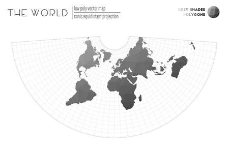 Low poly world map. Conic equidistant projection of the world. Grey Shades colored polygons. Energetic vector illustration.