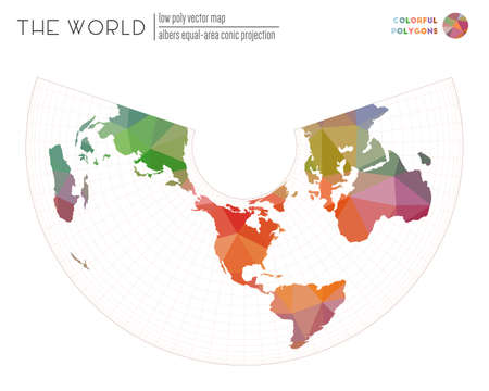 Abstract world map. Albers equal-area conic projection of the world. Colorful colored polygons. Elegant vector illustration.