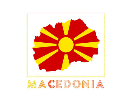 Map of Macedonia with country name and flag. Elegant vector illustration.