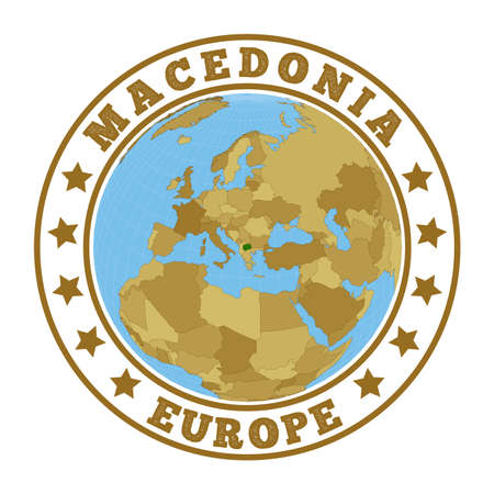 Round badge of country with map of Macedonia in world context. Country sticker stamp with globe map and round text. Vector illustration. Vectores