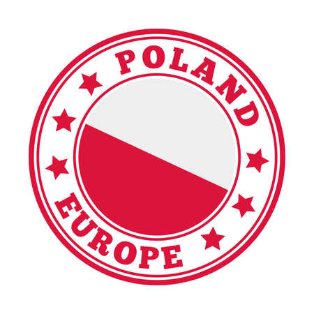 Poland sign. Round country logo with flag of Poland. Vector illustration. Logó