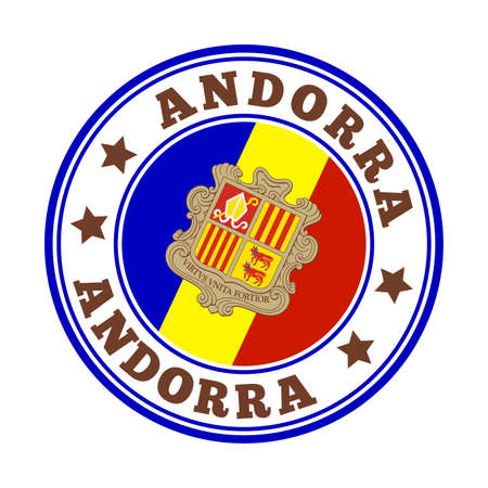 Andorra sign. Round country logo with flag of Andorra. Vector illustration.