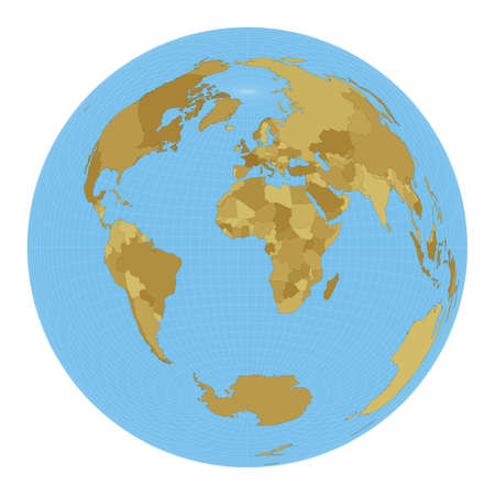 World Map. Lambert azimuthal equal-area projection. Map of the world with meridians on blue background. Vector illustration. Stock Illustratie