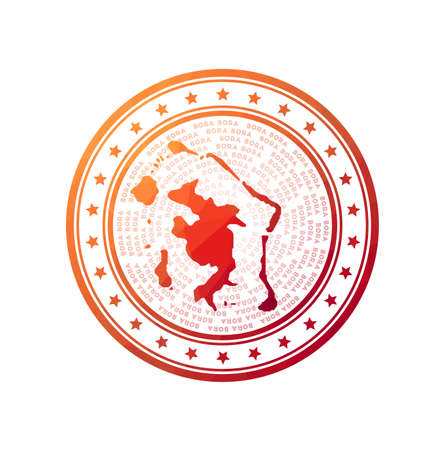 Flat low poly stamp of Bora Bora. Polygonal Bora Bora badge. Trendy vector logo of the island.