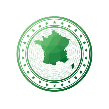 Flat low poly stamp of France. Polygonal France badge. Trendy vector logo of the country. Illustration
