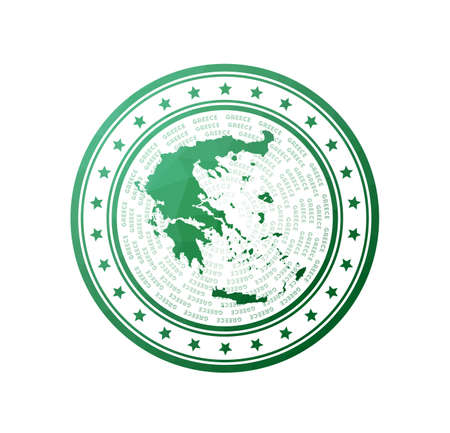 Flat low poly stamp of Greece. Polygonal Greece badge. Trendy vector logo of the country.