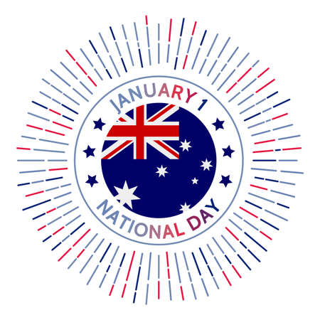 Australia national day badge. Independence from the United Kingdom in 1901. Celebrated on January 1. Illusztráció