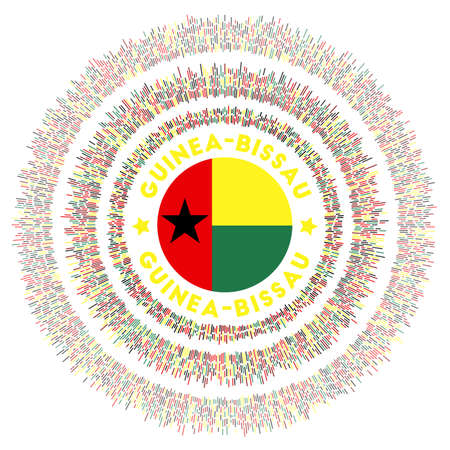 Guinea-Bissau symbol. Radiant country flag with colorful rays. Shiny sunburst with Guinea-Bissau flag. Neat vector illustration.