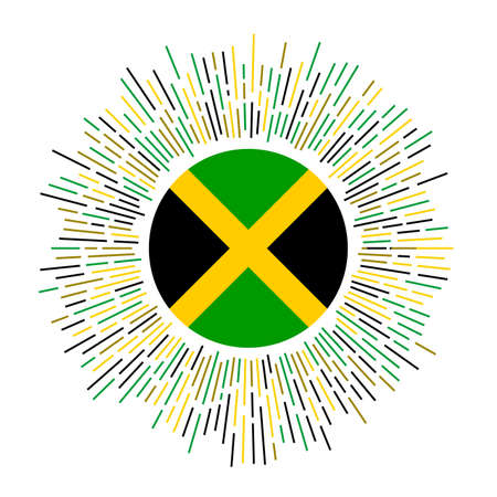 Jamaica sign. Country flag with colorful rays. Radiant sunburst with Jamaica flag. Vector illustration. Illustration
