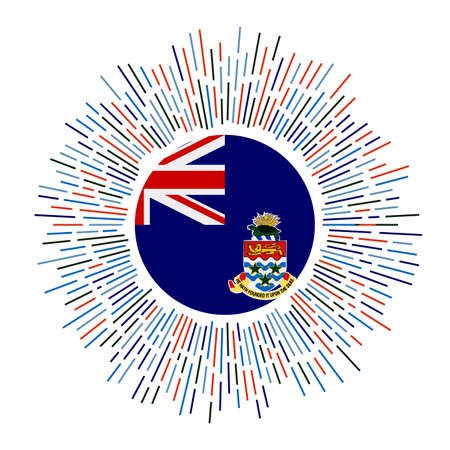 Cayman sign. Country flag with colorful rays. Radiant sunburst with Cayman flag. Vector illustration.