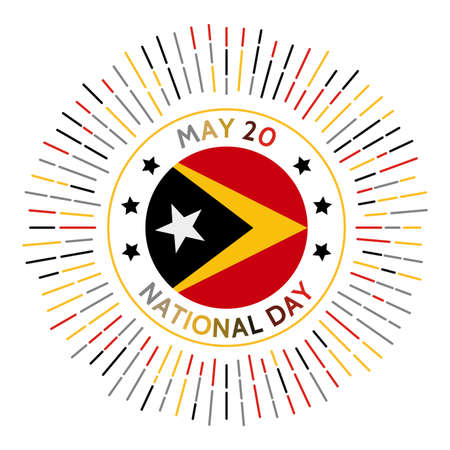 Timor-Leste national day badge. Independence from Portugal in 2002. Celebrated on May 20.