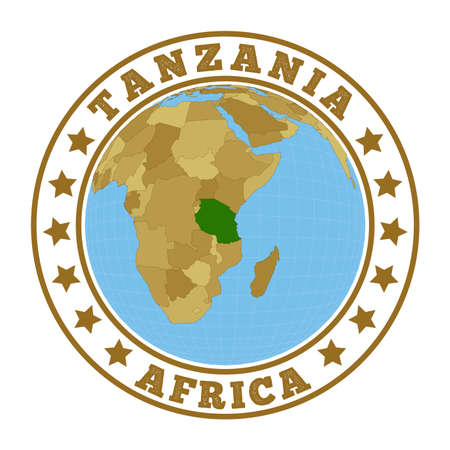 Tanzania logo. Round badge of country with map of Tanzania in world context. Country sticker stamp with globe map and round text. Vector illustration.