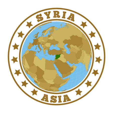 Syria logo. Round badge of country with map of Syria in world context. Country sticker stamp with globe map and round text. Vector illustration.