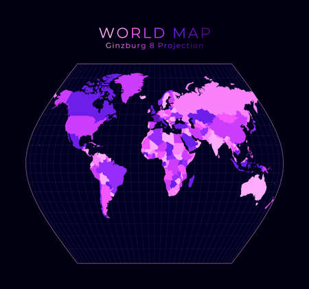 World Map. Ginzburg VIII projection. Digital world illustration. Bright pink neon colors on dark background. Radiant vector illustration.