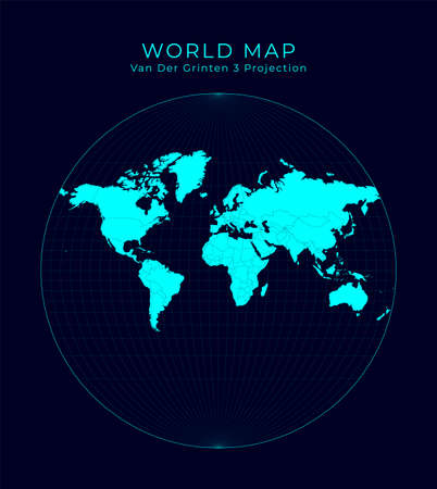 Map of The World. Van der Grinten III projection. Futuristic Infographic world illustration. Bright cyan colors on dark background. Captivating vector illustration. Stock Illustratie