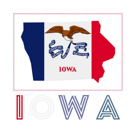 Iowa Logo. Map of Iowa with us state name and flag. Beautiful vector illustration.