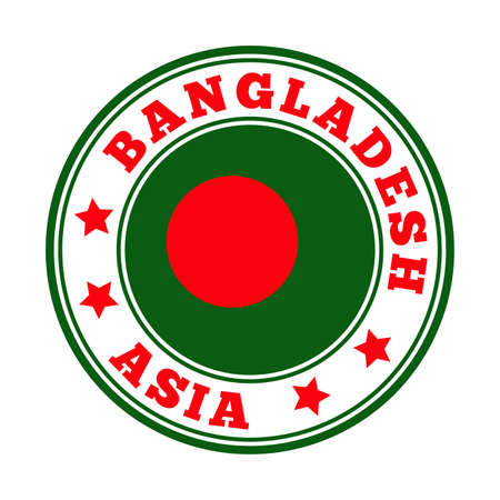 Bangladesh sign. Round country logo with flag of Bangladesh. Vector illustration.