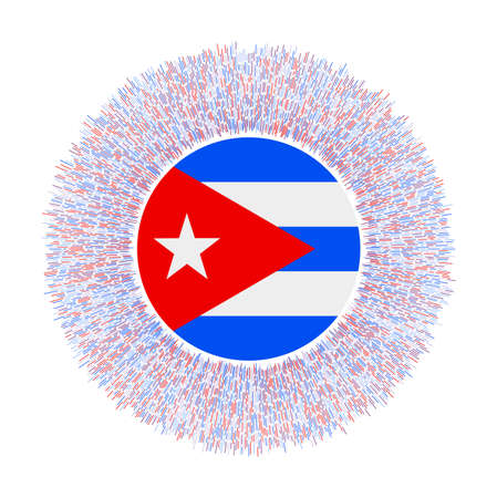 Flag of Cuba with colorful rays. Radiant country sign. Shiny sunburst with Cuba flag. Beautiful vector illustration. Ilustração