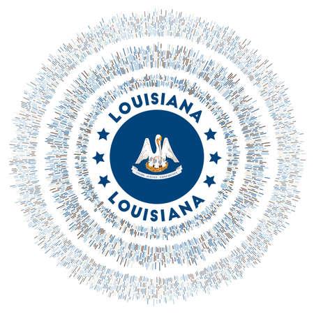 Louisiana symbol. Radiant us state flag with colorful rays. Shiny sunburst with Louisiana flag. Captivating vector illustration.