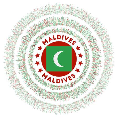 Maldives symbol. Radiant country flag with colorful rays. Shiny sunburst with Maldives flag. Astonishing vector illustration.