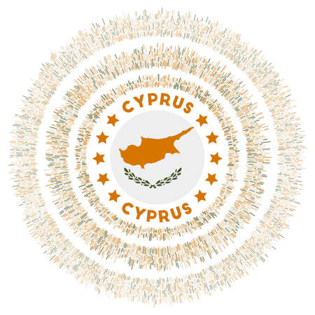 Cyprus symbol. Radiant country flag with colorful rays. Shiny sunburst with Cyprus flag. Classy vector illustration.