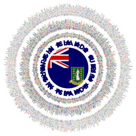 Virgin Islands (UK) symbol. Radiant country flag with colorful rays. Shiny sunburst with Virgin Islands (UK) flag. Authentic vector illustration.