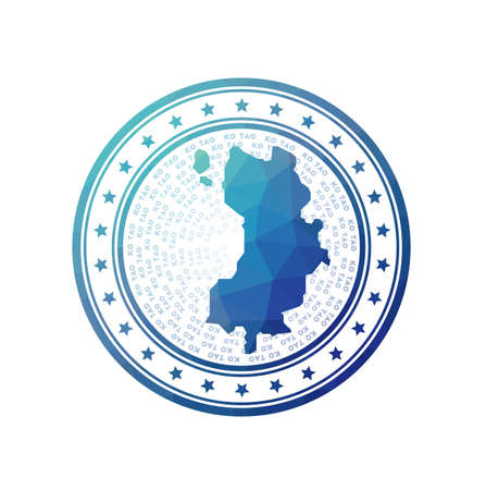 Flat low poly stamp of Ko Tao. Polygonal Ko Tao badge. Trendy vector logo of the island.