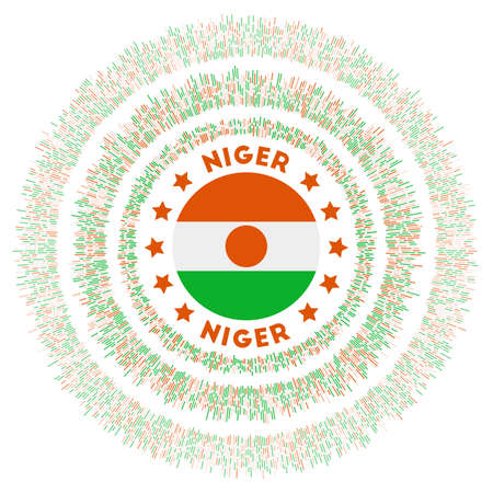 Niger symbol. Radiant country flag with colorful rays. Shiny sunburst with Niger flag. Trendy vector illustration.
