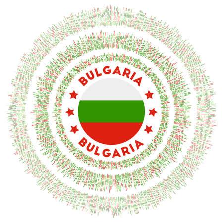 Bulgaria symbol. Radiant country flag with colorful rays. Shiny sunburst with Bulgaria flag. Amazing vector illustration.