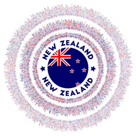 New Zealand symbol. Radiant country flag with colorful rays. Shiny sunburst with New Zealand flag. Beautiful vector illustration.